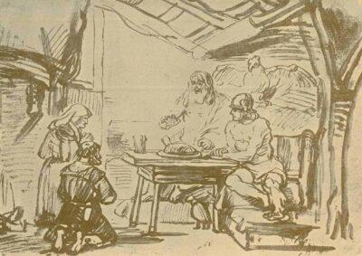 Rembrandt drawing, samuel van hoogstraten,