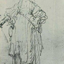 Rembrandt tekening, staande vrouw met grote hoed en wandelstok
