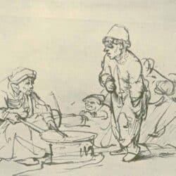 Rembrandt Tekening De pannenkoeken bakster