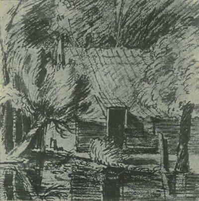 Rembrandt tekening, huisje tussen de bomen