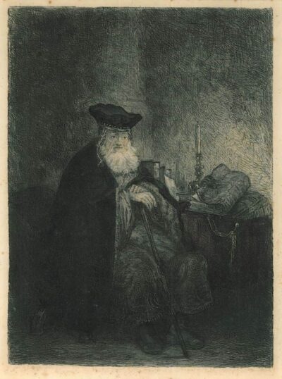 Rembrandt painting, old rabbi old scholar in a study