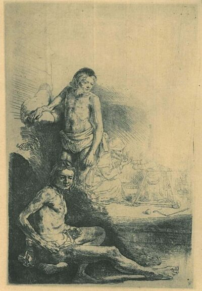 Rembrandt, Bartsch B. 194. A young man seated and standing [The walking trainer]