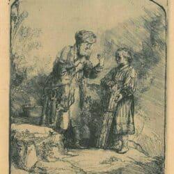 Rembrandt ets, Bartsch B. 34, Abraham en Isaac