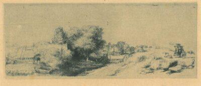 Landschap met visser ['Het melkboertje'], Rembrandt, Ets, Bartsch B. 213