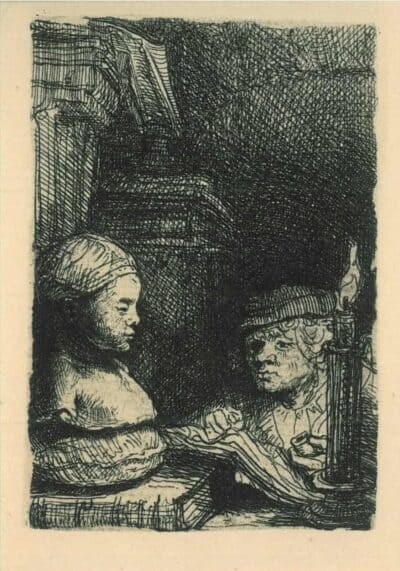 Man drawing from a cast, Rembrandt, Etching, Bartsch B. 130