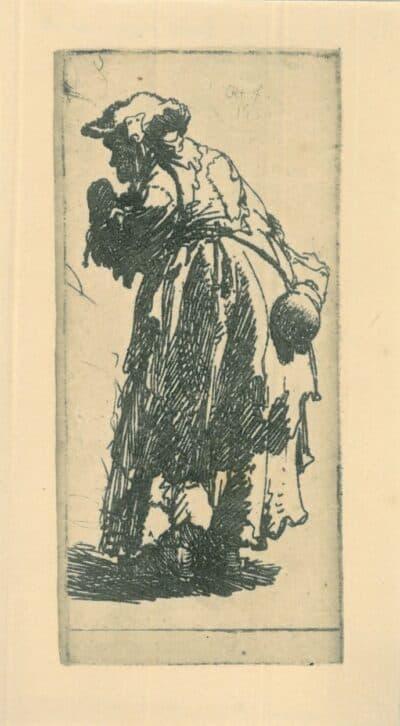 Old beggar woman with a gourd, Rembrandt, Ets, Bartsch B. 168