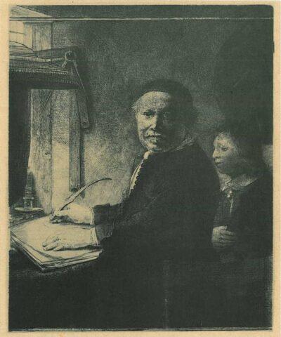 De schrijfmeester Lieven Willemsz. van Coppenol (1599- na 1677): kleine plaat, De grote Coppenol, Rembrandt, Bartsch, B. 282