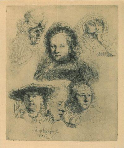 Kopstudies van Saskia en anderen, Rembrandt, Bartsch, B. 365
