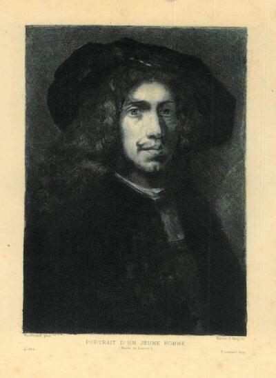 James S. King (American, 1852-1925) etching after Rembrandt painting, portrait d'un jeune homme