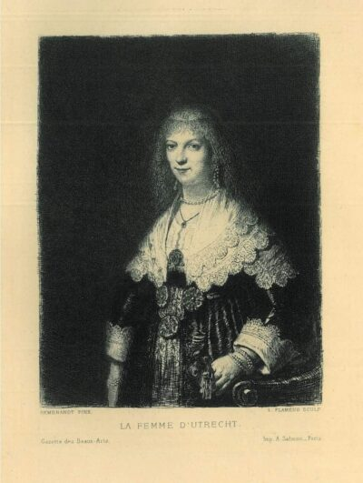 Leopold Flameng etching, after Rembrandt painting, portrait of a woman, possibly Maria Trip