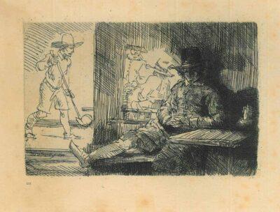 Rembrandt, Bartsch B. 125, Het kolfspel