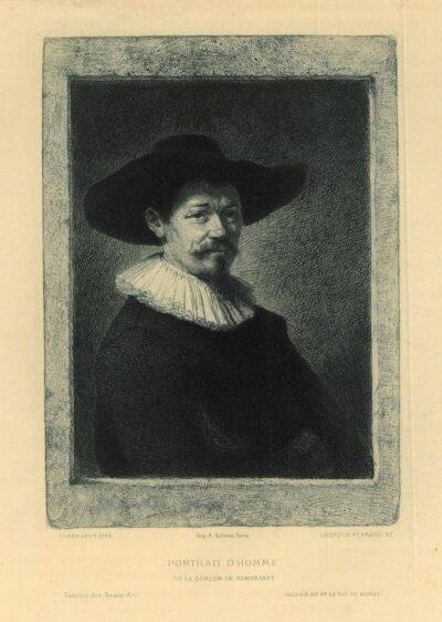 Leopold Flameng, naar Rembrandt, Ets, Portret van Herman Doomer