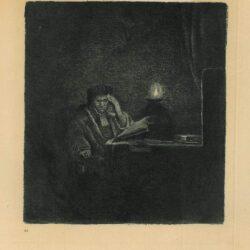 Rembrandt, Bartsch B. 148, Een student aan tafel bij kaarslicht