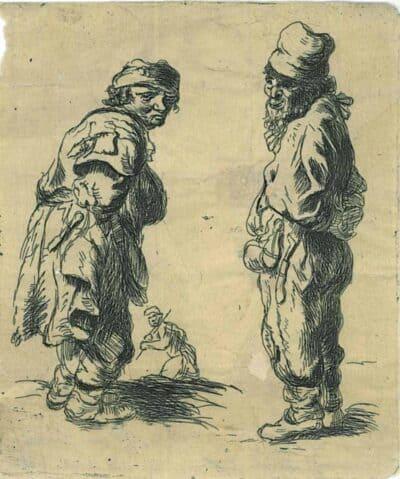 Rembrandt, Bartsch B. 177 178, copy in reverse, Claussin