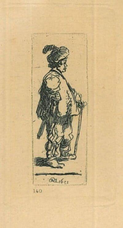 Rembrandt, Bartsch B. 142, Een Pool, leunend op zijn stok: naar rechts