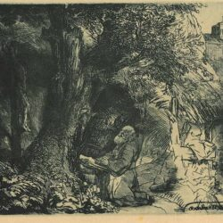 Rembrandt Bartsch B. 107, St. Francis beneath a tree praying