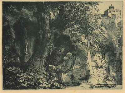Rembrandt Bartsch B. 107, St. Francis beneath a tree praying