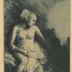 Naakte vrouw met een hoed naast zich, Rembrandt, Bartsch, B. 99