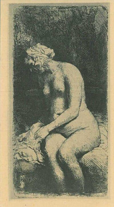 Zittene naakte vrouw [Vrouw die haar voeten baadt in een beek], Rembrandt, Bartsch, B. 200