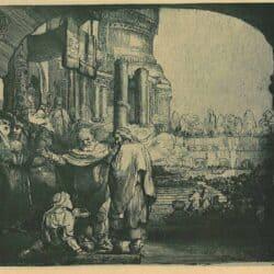 Petrus en Johannes genezen een kreupele aan de tempelpoort, Rembrandt, Bartsch, B. 94