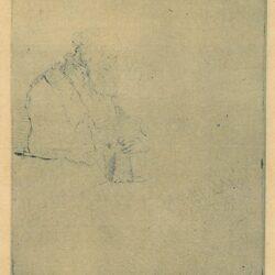 Een in gedachten verzonken oude man, leunend op een boek, Rembrandt, Bartsch, B. 147
