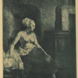 Vrouw met ontbloot bovenlichaam bij een kachel, Rembrandt, Bartsch, B. 197