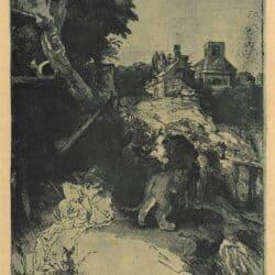 Hiëronymus lezend in een Italiaans landschap, Rembrandt, Bartsch, B.