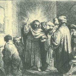 Rembrandt, etching, Bartsch B. 68, The tribute money