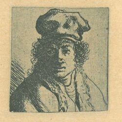 Rembrandt, etching, Bartsch b. 322, Young man with hat