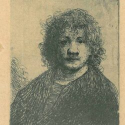 Rembrendt Etching, Bartch B .4, Self-portrait with a broad nose