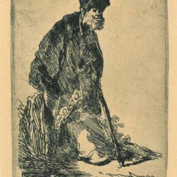 Rembrandt, etching, Bartsch B. 151, Man in a coat and fur cap leaning against a bank