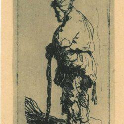 Rembrandt, Etching, Bartsch B. 163, Beggar leaning on a stick, facing left