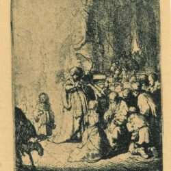 Rembrandt, etching, Bartsch b. 51, Simeon's hymn of praise [The presentation in the Temple with the angel: the small plate]