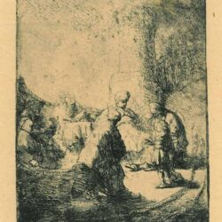 Rembrandt, etching, Bartsch b. 66, Christ disputing with the doctors: small plate