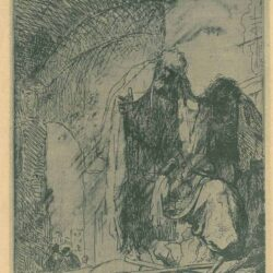 Rembrandt, Etching, Bartsch, B. 95, Peter and John at the gate of the Temple: roughly etched
