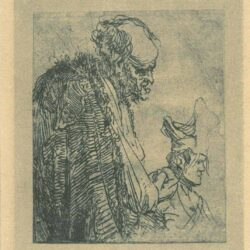 Rembrandt Etching, Bartch b. 182, Two studies of beggars