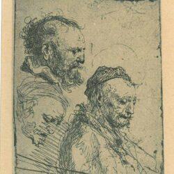 Rembrandt, etching, Bartsch b. 374, Three studies of old men's heads