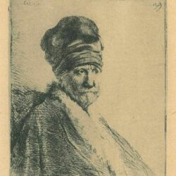 Rembrandt, etching, Bartsch b. 321, Bust of a man wearing a high cap, three-quarters right [The artist's father?]