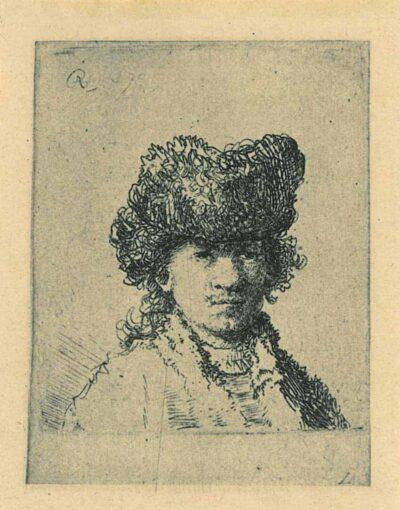 Rembrandt, etching, Bartsch b. 24, Self portrait in a fur cap: bust