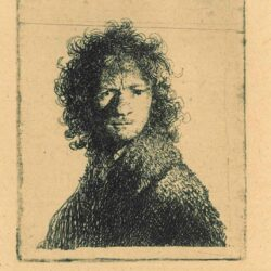 Rembrandt, etching, Bartsch b. 10, Self portrait, frowning: bust