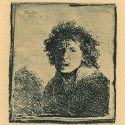 Rembrandt Etching, bartch b.13, Self portrait open-mouthed, as if shouting: bust