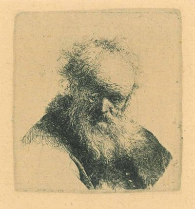 Rembrandt, etching, Bartsch B. 291, Bust of an old man with flowing beard and white sleeve
