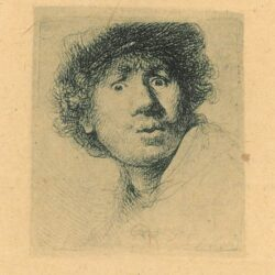 Rembrandt Etching, Bartch B. 320, Self portrait in a cap, with eyes wide open