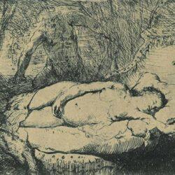 Jupiter en Antiope: kleine plaat, Jupiter en Antiope, Rembrandt ets, Bartsch, B. 204