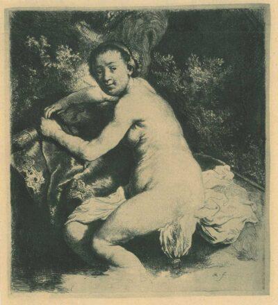 Rembrandt, etching, Bartsch b. 201, Diana at the bath