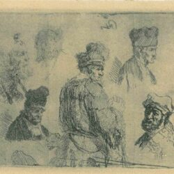 Rembrandt Etching, Bartch 366, Sheet of studies of men's heads