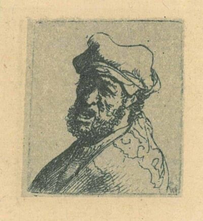 Rembrandt, etching, Bartsch b. 300, Man crying out: Bust
