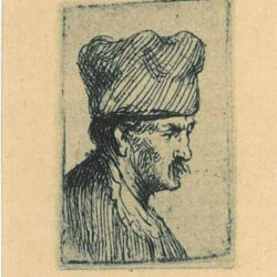 Rembrand Etching, Bartch b. 303, Man in a Square Cap, in Profile to the Right
