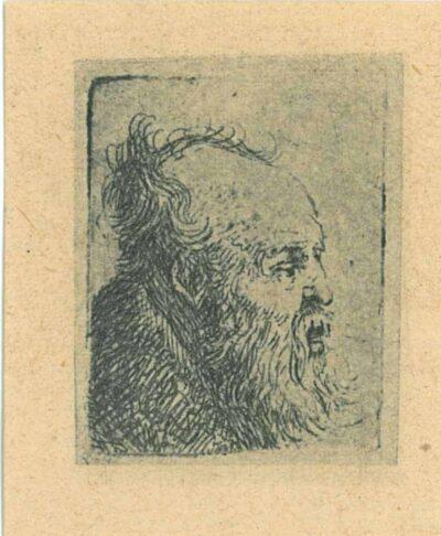 Rembrandt, etching, Bartsch b. 334, Old man: bust