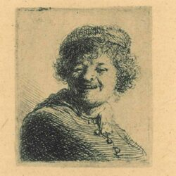 Rembrandt, etching, Bartsch b. 316, Self portrait in a cap, laughing